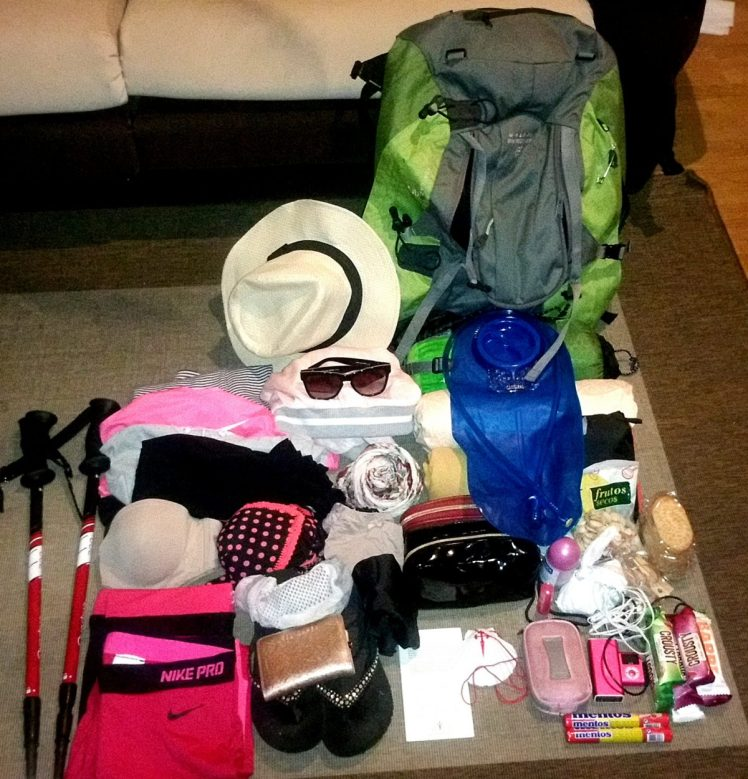 My backpack and the items I took with me.