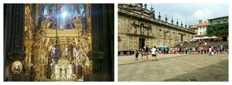 The Botafumeiro and the statue of St. James (on the left). A queue of visitors going through the Holy Door.
