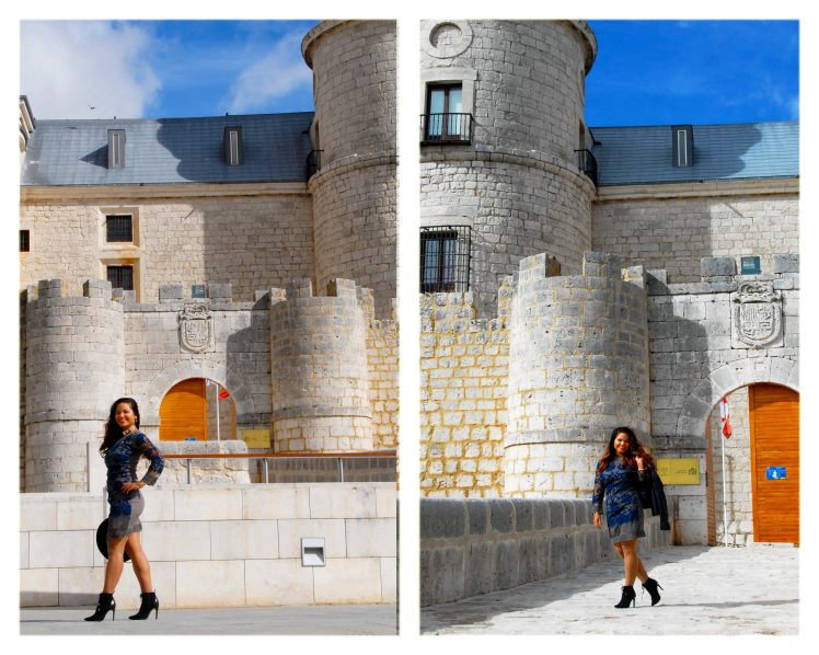 Striking a pose in front of the Archivos General de Simancas.