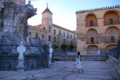 Checking out the monument. The building on the left is the Roman Catholic Diocese of Cordoba.