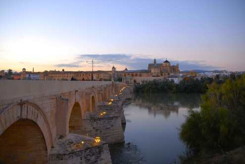 View of the Roman Bridge and the Cathedral-Mosque.