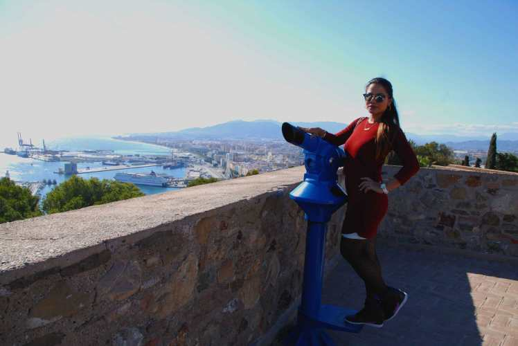 Checking out the port area from the Castle of Gibralfaro.